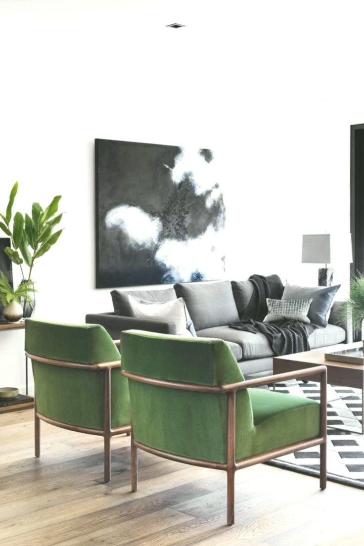 Sitting Room White Walls Grey Couch Green Chairs Grey Couch