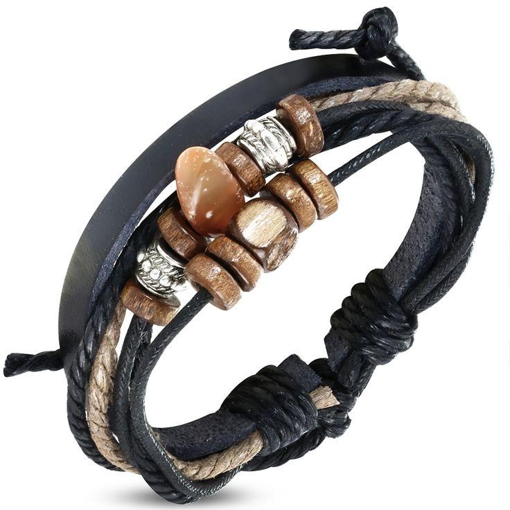 Bracelet homme Zense tendance et fashion en cuir véritable ajustable de couleur noire multi-brins et perles de Karma. Matière : cuir. Longueur : 20 cm à 26 cm (ajustable). Poids : 9.3 g. Référence : ZB0232.