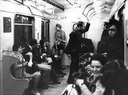 Not sure if Geese ride for free, but the should! - Vintage photo of Prague Metro (idnes.cz, DPP achive)