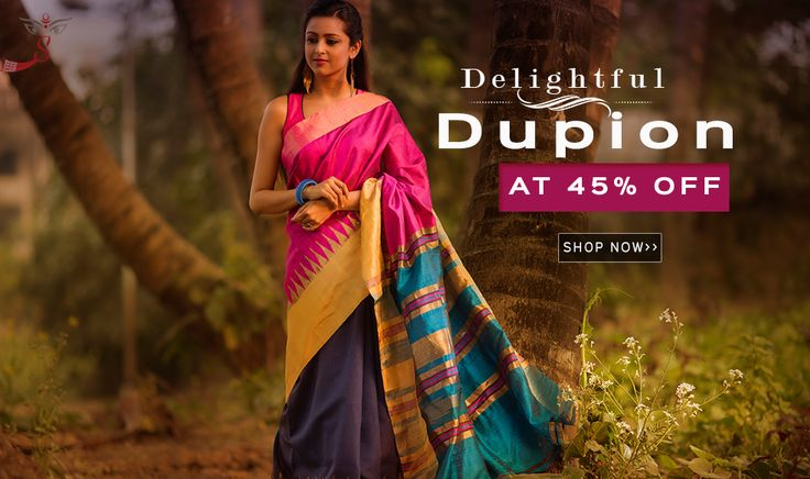 #DupionSilkSarees Are Here at 45% OFF!