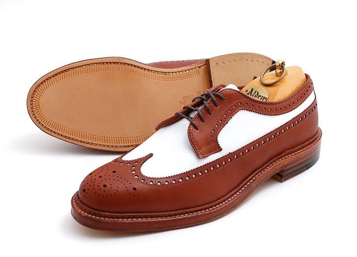 sapato masculino wingtip brogue duas cores, espectador
