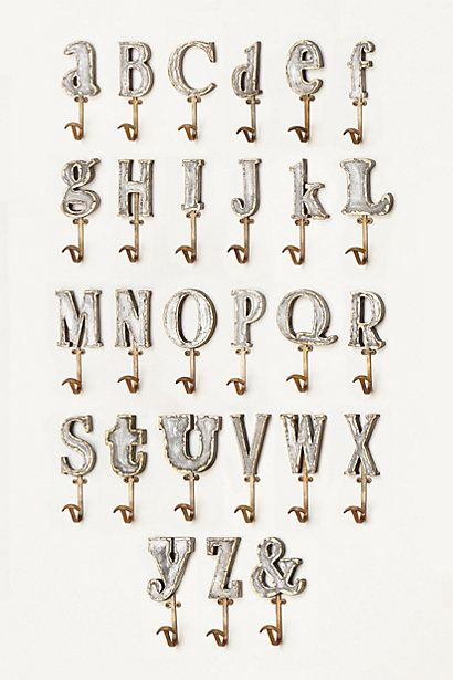 Check out the last one. Must have. Thanks to friend/coworker for sharing this!    Marquee Letter Hook  #anthropologie
