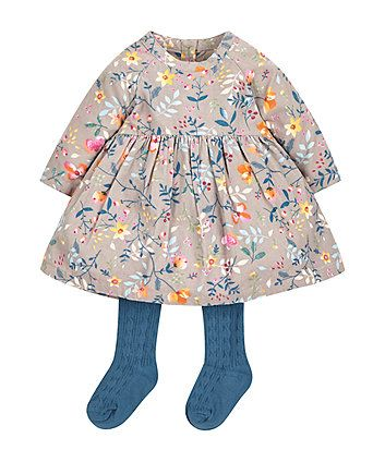 Cord Floral Dress with Tights | dresses & skirts | Mothercare