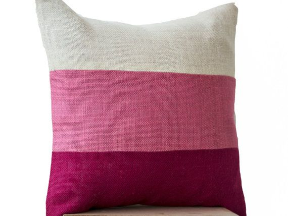 Chic Pink Burlap Pillow Throw Pillows color block by AmoreBeaute