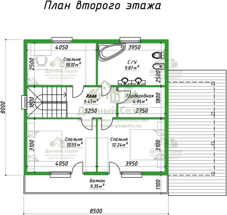 Проект деревянного дома Нумерс размером 8 х 8 м2 от 1, 140, 972 руб. - Дачный Сезон