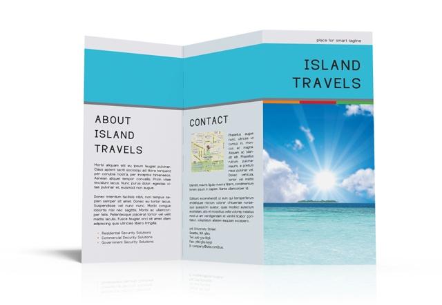 Island travels tri fold free free is good pr marketing for Good brochure templates