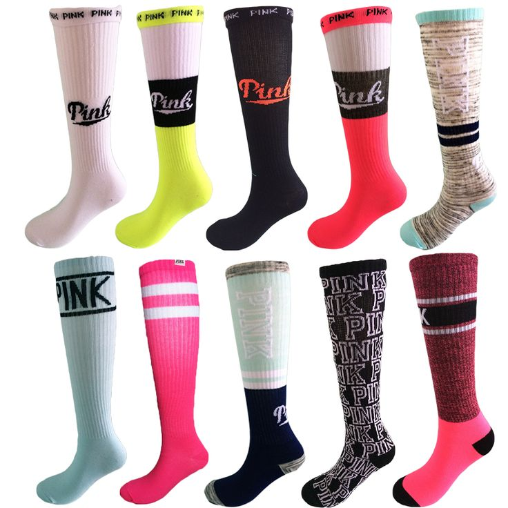 New Hot Sweet Pink Long harajuke Women's Socks 18 Color Cotton meias Skateboard Fashion Style Girl Knee high Sock Wholesale