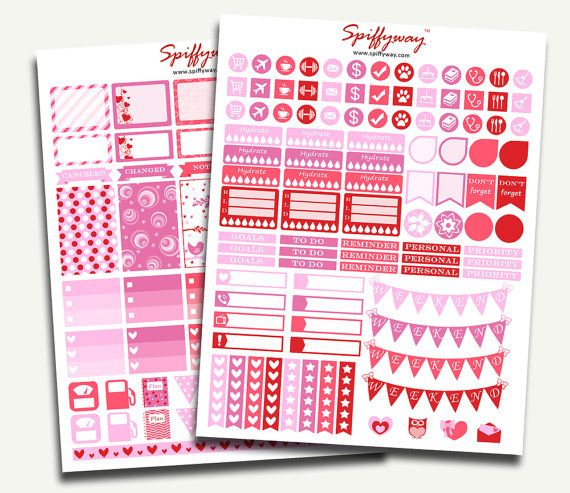 February Planner Stickers  Pink Planner Stickers  Red by Spiffyway #plannerstickers #printableplannerstickers #pinkplannerstickers #valentinestickers #lovestickers https://www.etsy.com/listing/261122046/february-planner-stickers-pink-planner?ref=shop_home_active_9