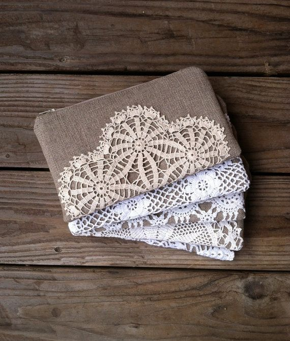 Set of 5 - Linen Burlap Clutch Vintage Doily - Bridesmaid Gift - Rustic Wedding - Eco Friendly Wedding - Burlap Lace