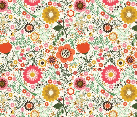 My Flower Garden in Autumn fabric by oliveandruby on Spoonflower - custom fabric