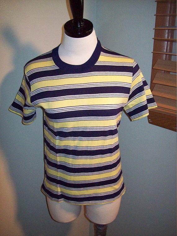 70334361 Vintage 60s 70s Yellow Navy Blue and White Striped Ringer T Shirt / Tennis  Roller Skating Shirt Retro Mens Womens Gym Tee Shirt / Glenbrooke