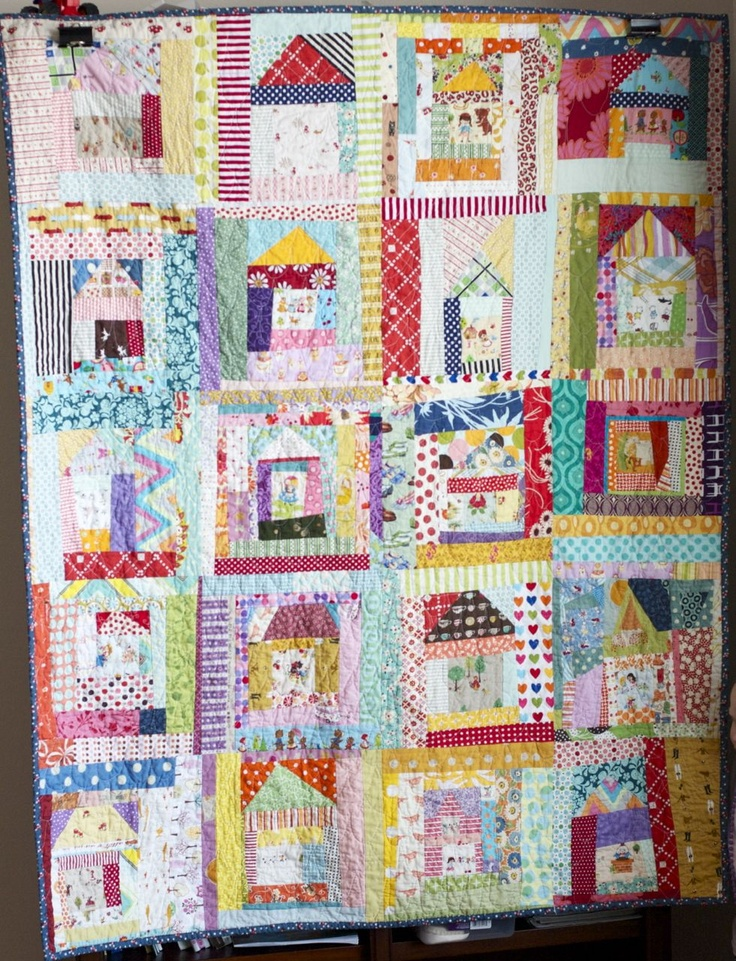 Lovely scrappy houses from a quilt is nice easy quilts for Space fabric quilt