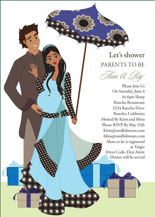 Desi Umbrella - Indian Baby Shower Invitation by #Soulfulmoon