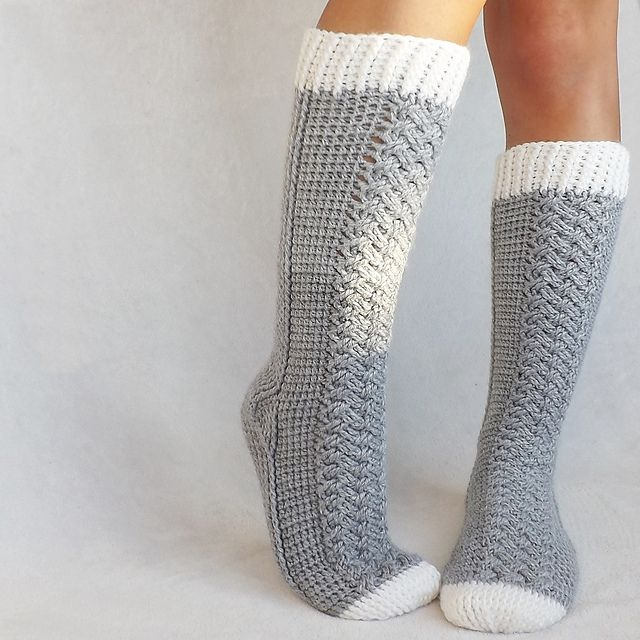 Good crochet sock patterns are hard to find... this one looks outstanding... Parker Cable Socks crochet pattern by Lakeside Loops