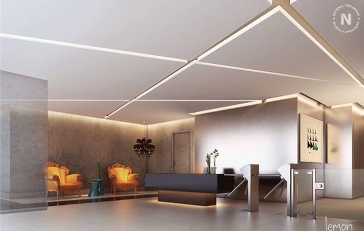 Iluminação moderna com forro de gesso
