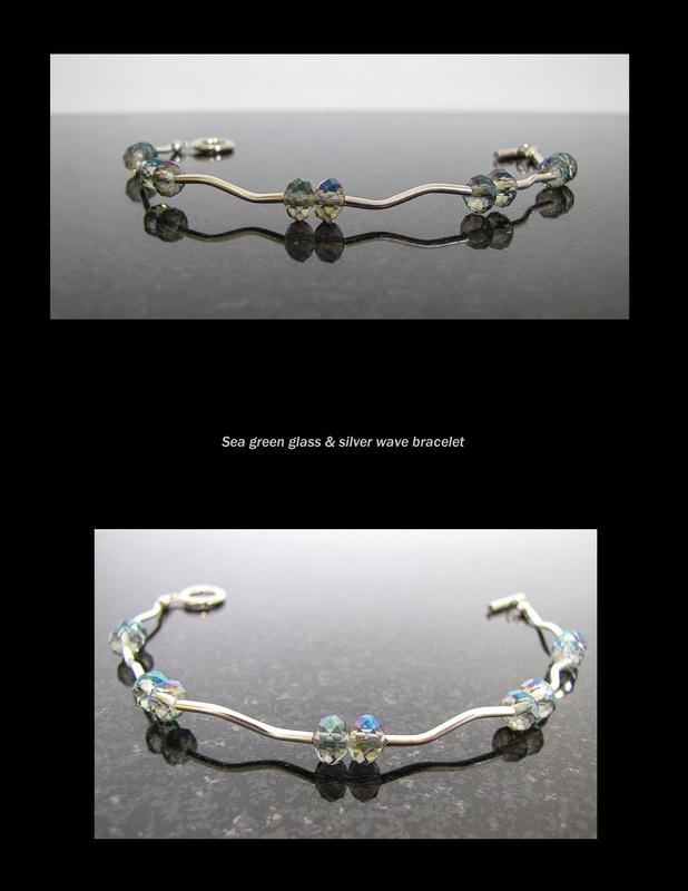 Sea green glass & silver wave bracelet