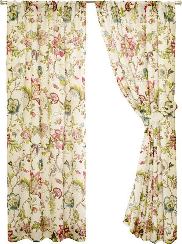 Tuckerman Floral Flower Rod Pocket Panel Pair Curtains Rod