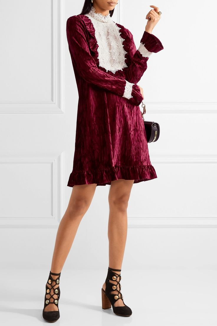 Anna Sui | To the One I Love lace-trimmed crushed-velvet mini dress | NET-A-PORTER.COM