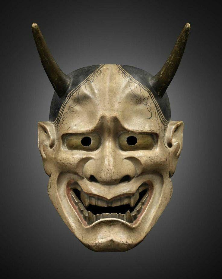 Shiro Hannya noh mask. Carved by Ōmiya Yamato Sanemori (last generation of Iseki family) - Wood and gofun pigment. Edo period, 17th century. Photo courtesy Mingei Arts Gallery.