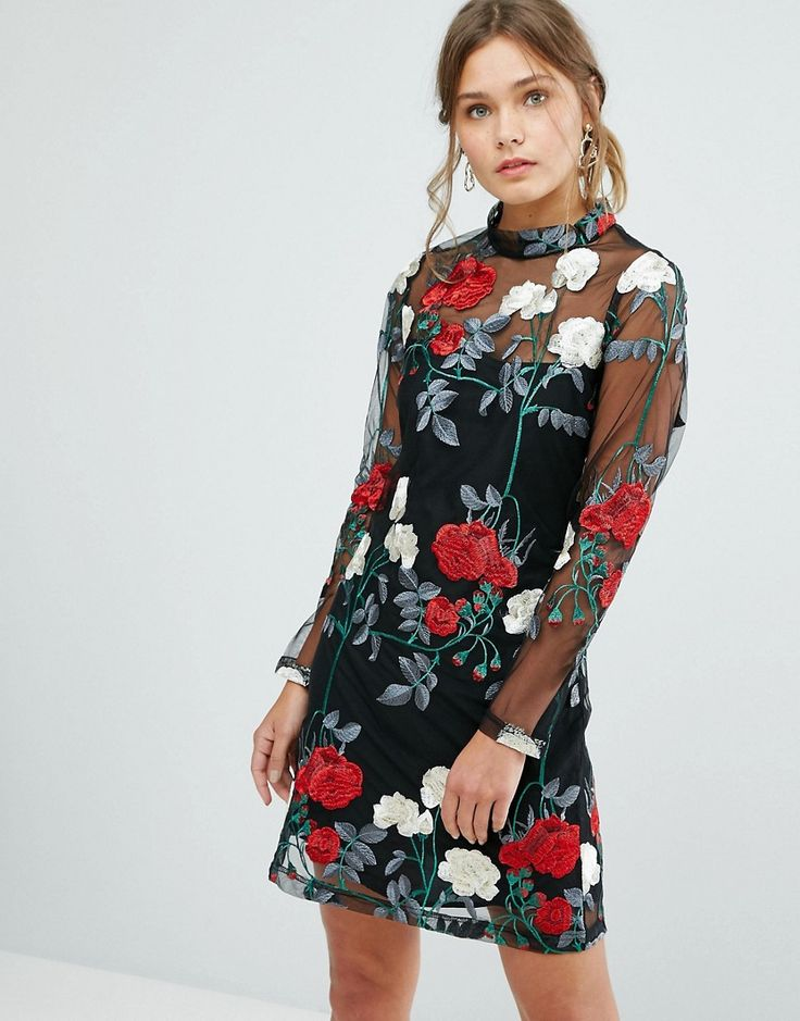 New Look Floral Embroidered Tunic Dress - Black