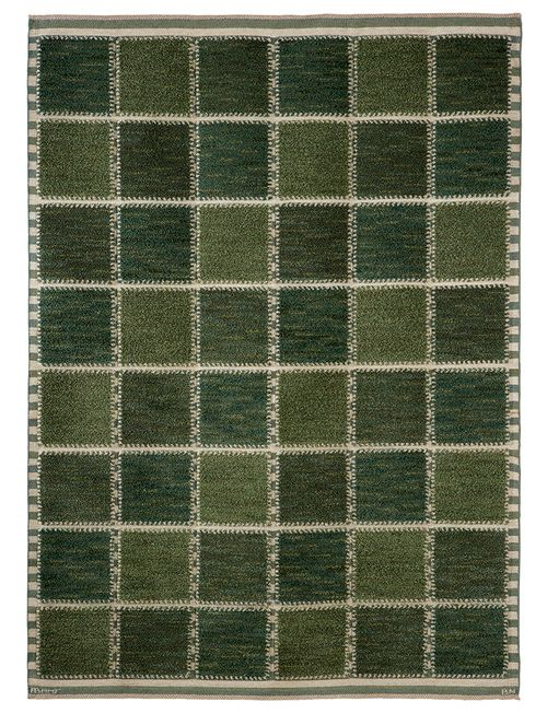 GYLLENRUTAN, GRÖN Designed by Barbro Nilsson in 1945 #MMF #MärtaMååsFjetterström #MartaMaas #BarbroNilsson #Handwoven #Handmade #Pile #Rug #Rugs #SwedishCarpets #SwedishDesign