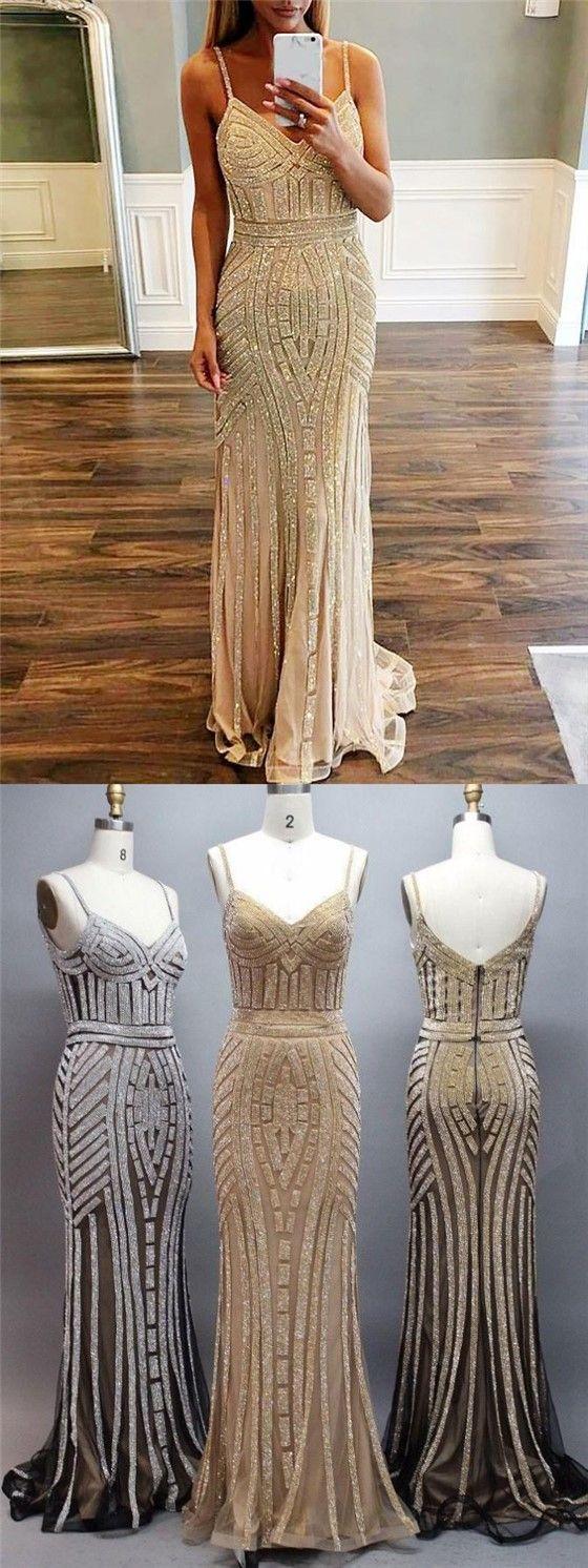 Spaghetti Luxury Beaded Long Mermaid Prom Dresses, Popular Evening Gown, BG0362 #promdresses #fashion