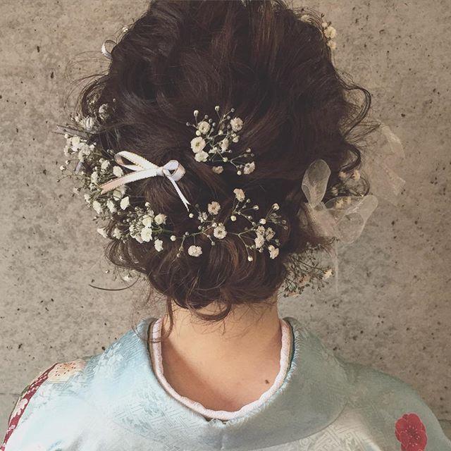 * * 卒業式 ♡  hairset * * かすみ草♡ * * #ヘアアレンジ #マリhair #卒業式ヘア