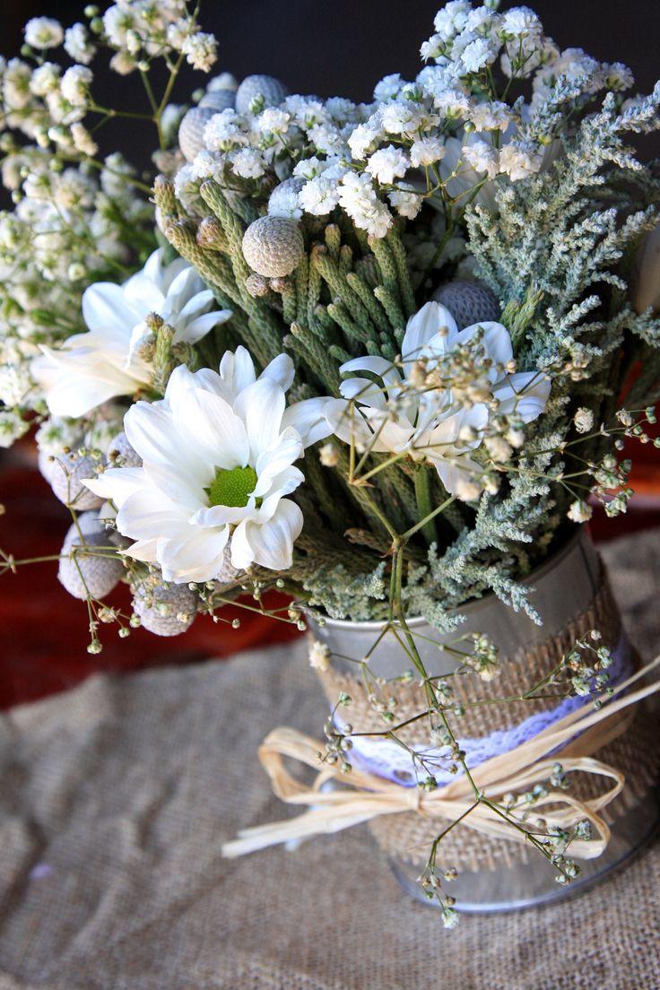 Rustic wedding tin can centrepiece