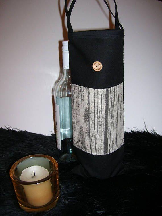 WINE GIFT BAG  black & gray wine bag  wood pattern fabric