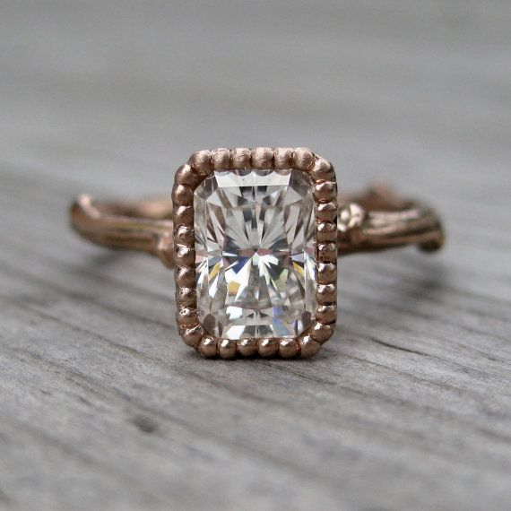 Emerald Moissanite Twig Engagement Ring - White, Yellow, or Rose Gold - 1ct - Beaded Bezel on Etsy, $1,550.00