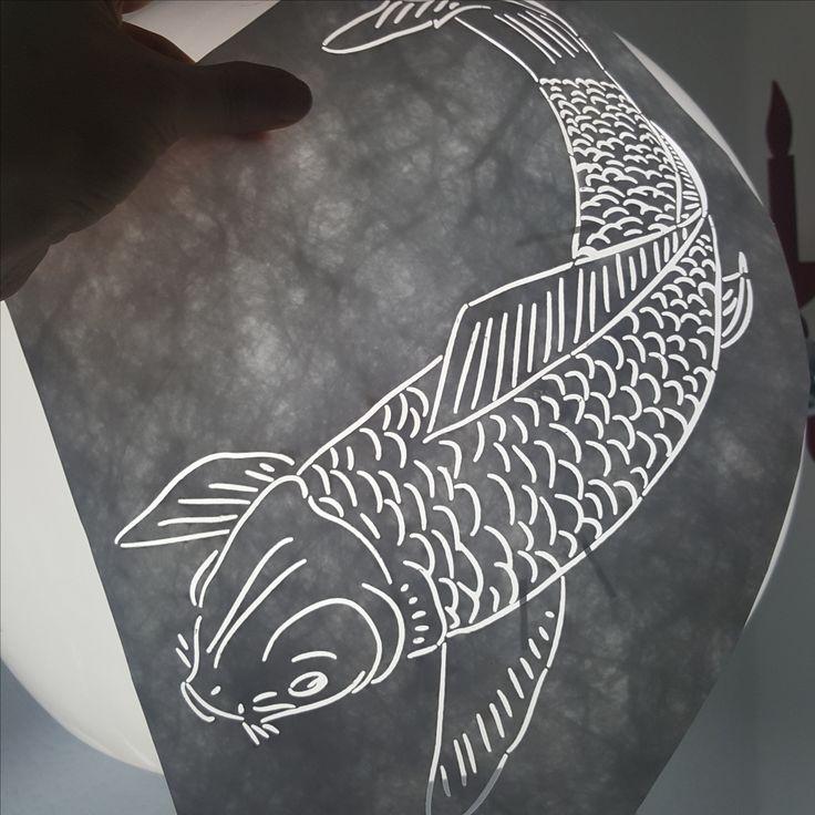 The koi looks good, doesn't he? #paperdress #papercut #lasercutting #mukieart #paper #asianart #koi #carp #paper