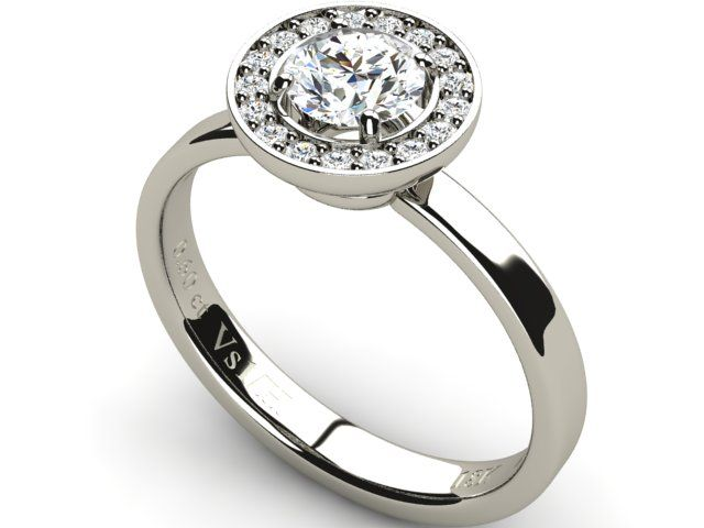 Halo Diamond Engagement Ring 18K White Gold - Paul Jewelry
