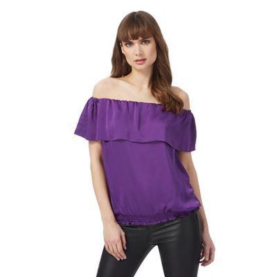 Star by Julien Macdonald Purple Bardot frilled top | Debenhams