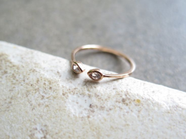 Delicate Sterlig silver Adjustable CZ Ring / Drop shape cz open ring / Dainty CZ ring / Dual Silver Ring / 925 simple silver ring by thinlight on Etsy