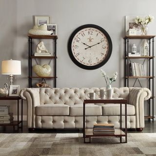 Knightsbridge Beige Fabric Button Tufted Chesterfield Sofa and Room Set by  iNSPIRE Q Artisan by iNSPIRE Q. 46 best Chesterfield Sofas images on Pinterest
