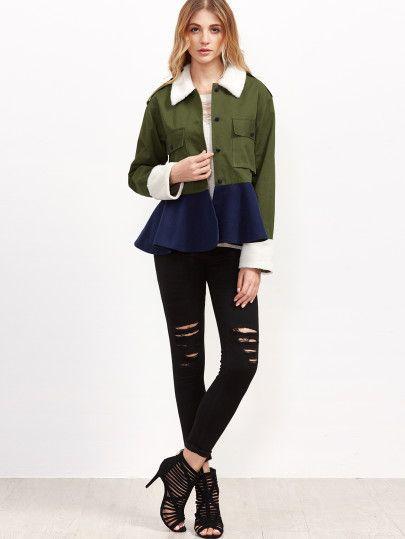 Shop Color Block Pocket Front Peplum Jacket online. SheIn offers Color Block Pocket Front Peplum Jacket & more to fit your fashionable needs.