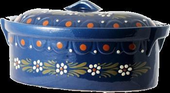 "Plat à baeckeoffe moyen ""Pâquerettes""- poterie Soufflenheim, Alsace"