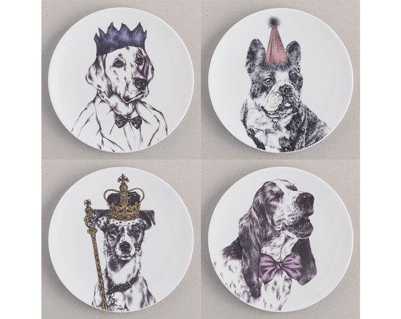 Dog Side Plate Gift Set. 4 fine bone china by TheKatandMonocle