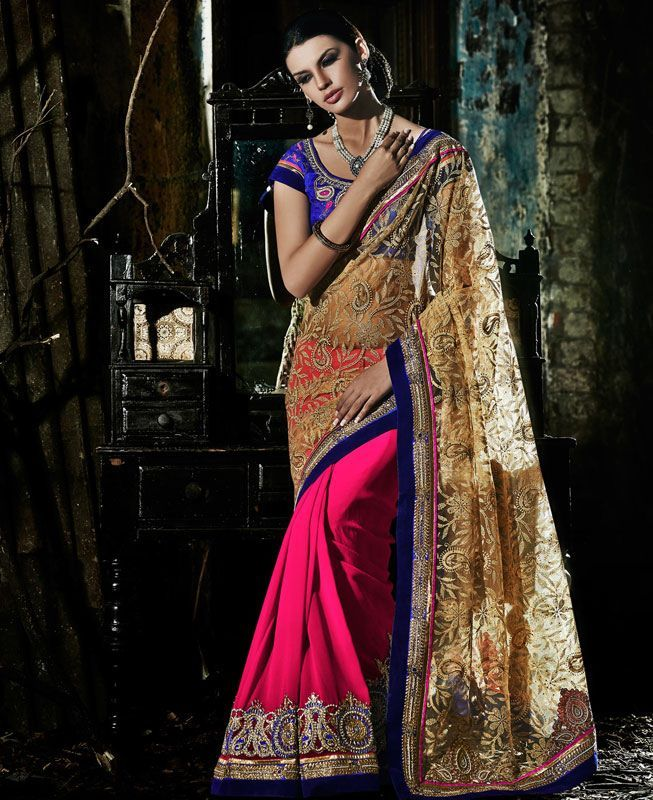 Buy Good Looking Pink & Brown Georgette Saree online at  https://www.a1designerwear.com/good-looking-pink-brown-georgette-sarees  Price: $73.27 USD