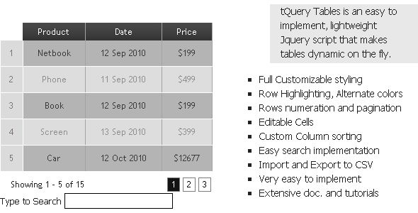 tQuery - Dynamic tables  #codecanyon