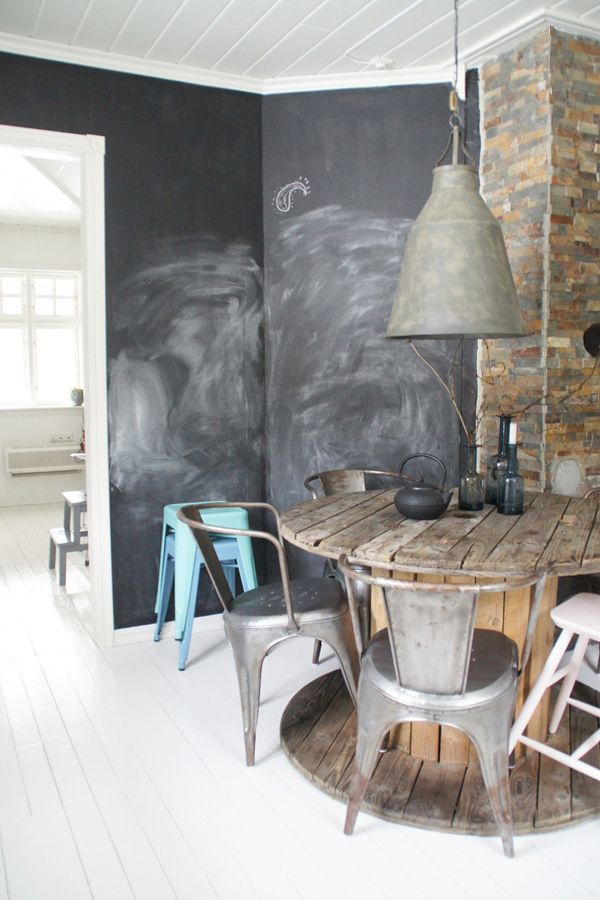 Blackboard wall and upcycled vintage metal chairs, upcycled pendant light and upcycled barrel table!
