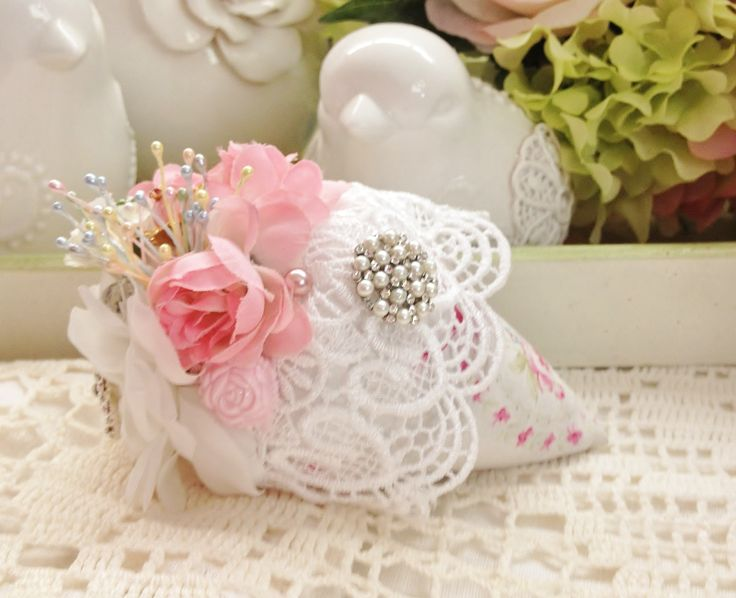 shabby roses  strawberry sachet filled with lavender buds
