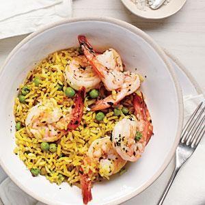 Shrimp and Pea Rice Bowl | MyRecipes.com     Add dash salt and squeeze some fresh lemon juice on.