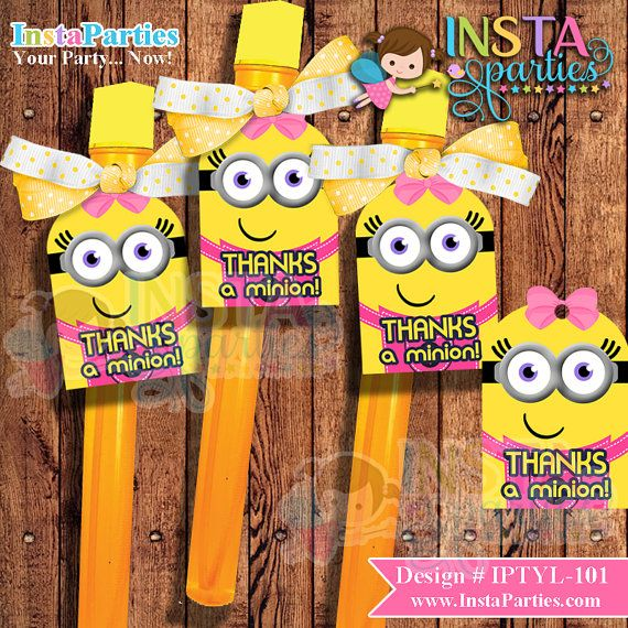 INSTANT DOWNLOAD Minion minions Thank You TAGS by InstaParties