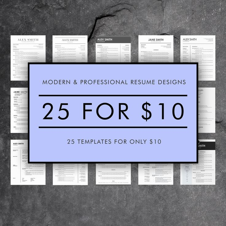 Resume Template Bundle 25 Professional Word