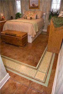 stained floor with celtic knot stenciling