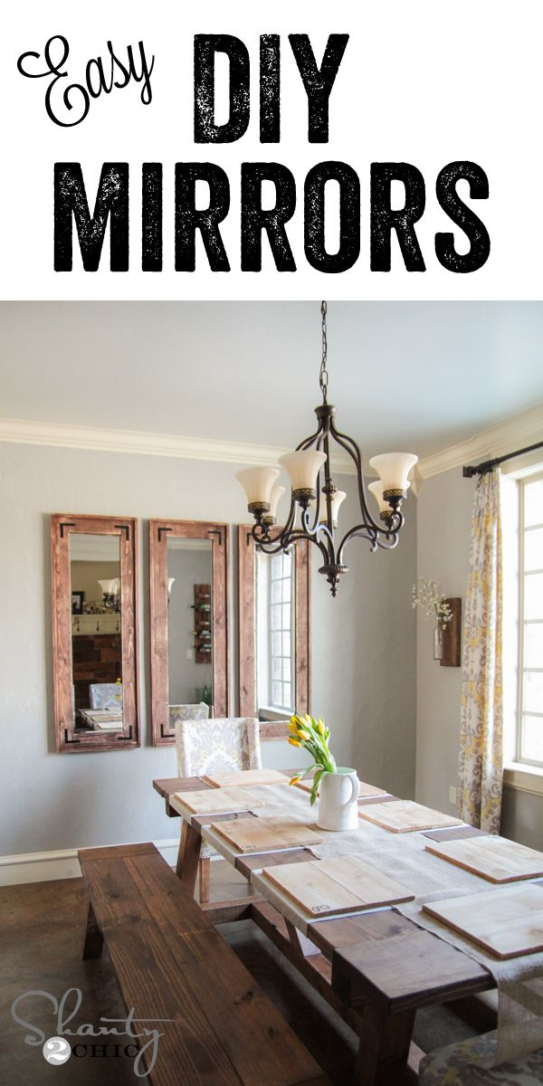 Diy rustic full length mirrors using cheap mirrors from for Diy dining room ideas