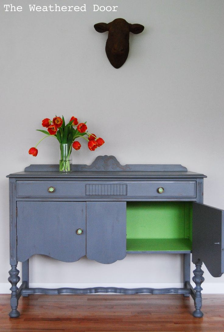 The Weathered Door: A Grey Buffet with a Green Interior