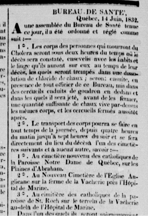 1832- Des mesures particulières doivent être prises avec les cadavres, victimes du Choléra. Extrait du Canadien, p.2, 18 juin 1832
