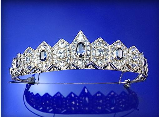 A sapphire and diamond tiara, designed as a band of hexagons graduated in size from the front of the tiara, 1930's.